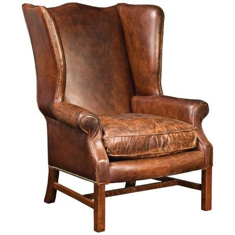 Carnegie Hawthorne Cigar Top Grain Leather Wingback Chair
