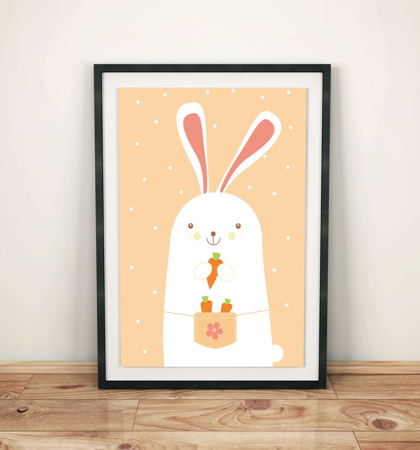 Nursery prints poster with sweet rarrbit, wall art decor, kids room ...