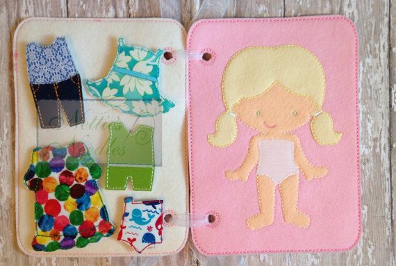 Dress A Doll Quiet Book With Personalization by NettiesNeedlesToo #dollaccessories