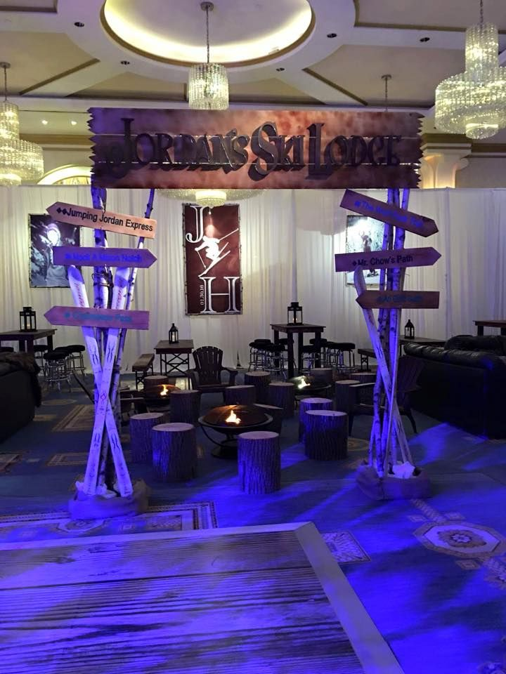 Ski Lodge Theme Bar Mitzvah  Art Decor  Pinterest Bar