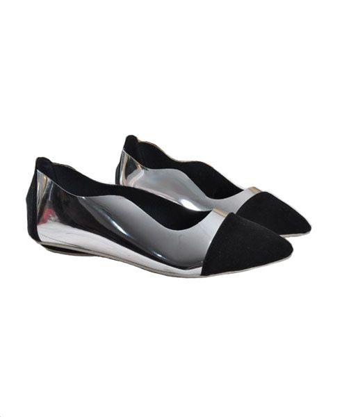 Color Block PU Point Flat Shoes