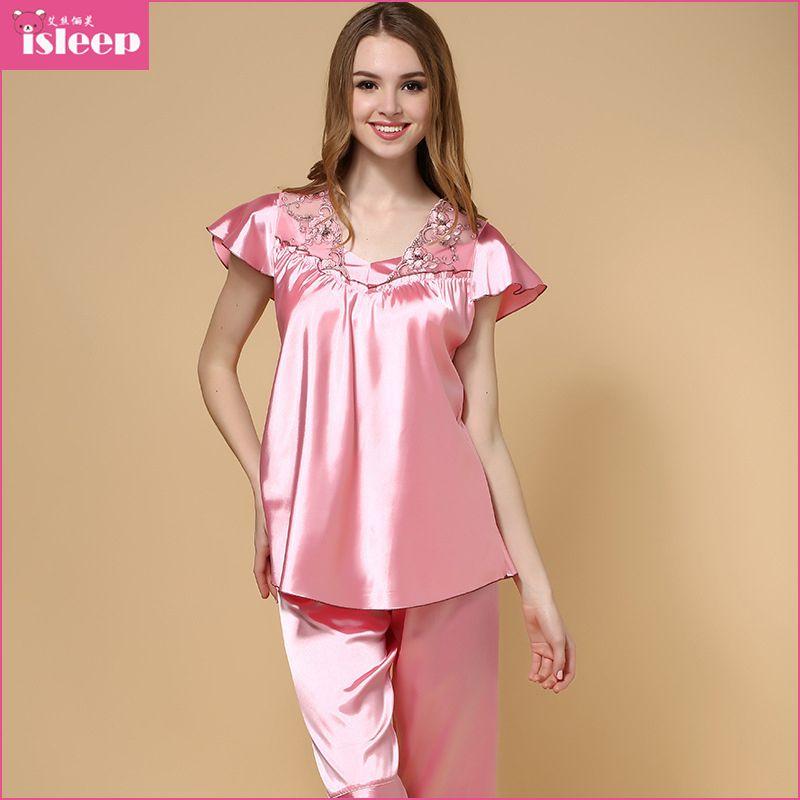 44d104ec13 Estilo del verano De Seda imitado Pijamas para mujer ropa De Dormir suave mujeres  pijama mercado