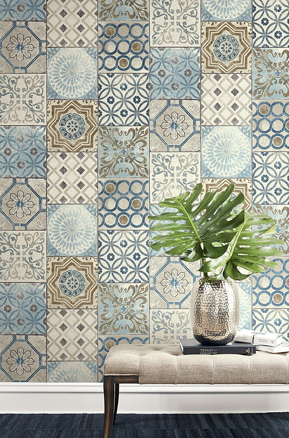 Nextwall Moroccan Style Peel And Stick Mosaic Tile Wallpaper Blue Copper Grey Amazon Com In 2020 Mosaic Wallpaper Moroccan Home Decor Moroccan Tile