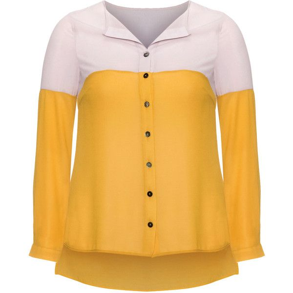 Manon Baptiste Yellow / Grey Plus Size Two-tone chiffon blouse ($175) ❤ liked on Polyvore featuring tops, blouses, plus size, yellow, yellow chiffon top, plus size chiffon blouse, women plus size tops, plus size tops and chiffon blouse