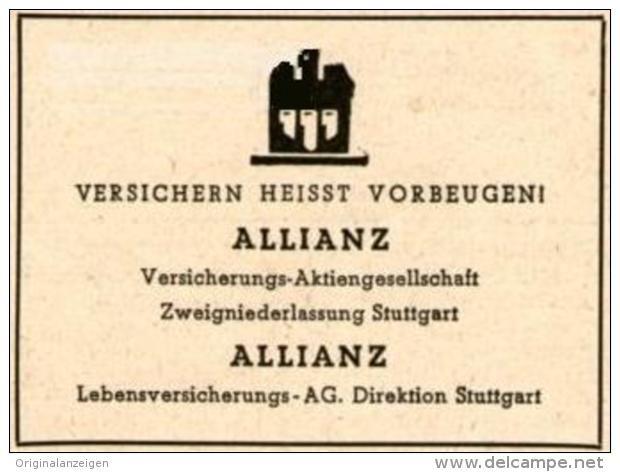 OriginalWerbung/Inserat/ Anzeige 1948 ALLIANZ