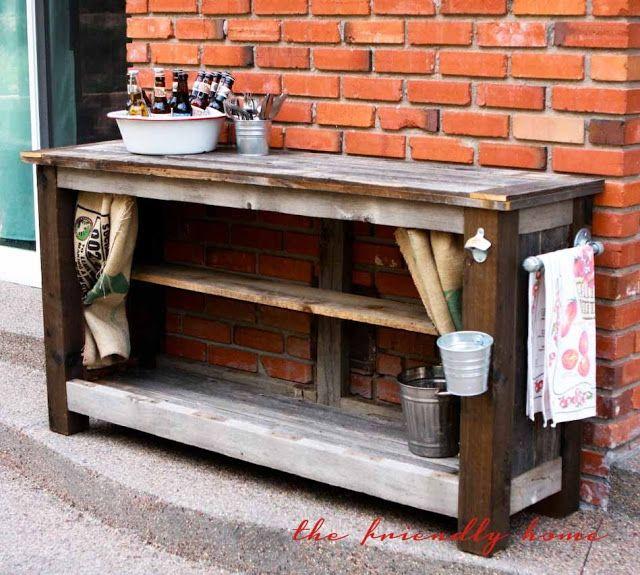 backyard redo} Outdoor Bar from Reclaimed Wood wood tables Pinterest