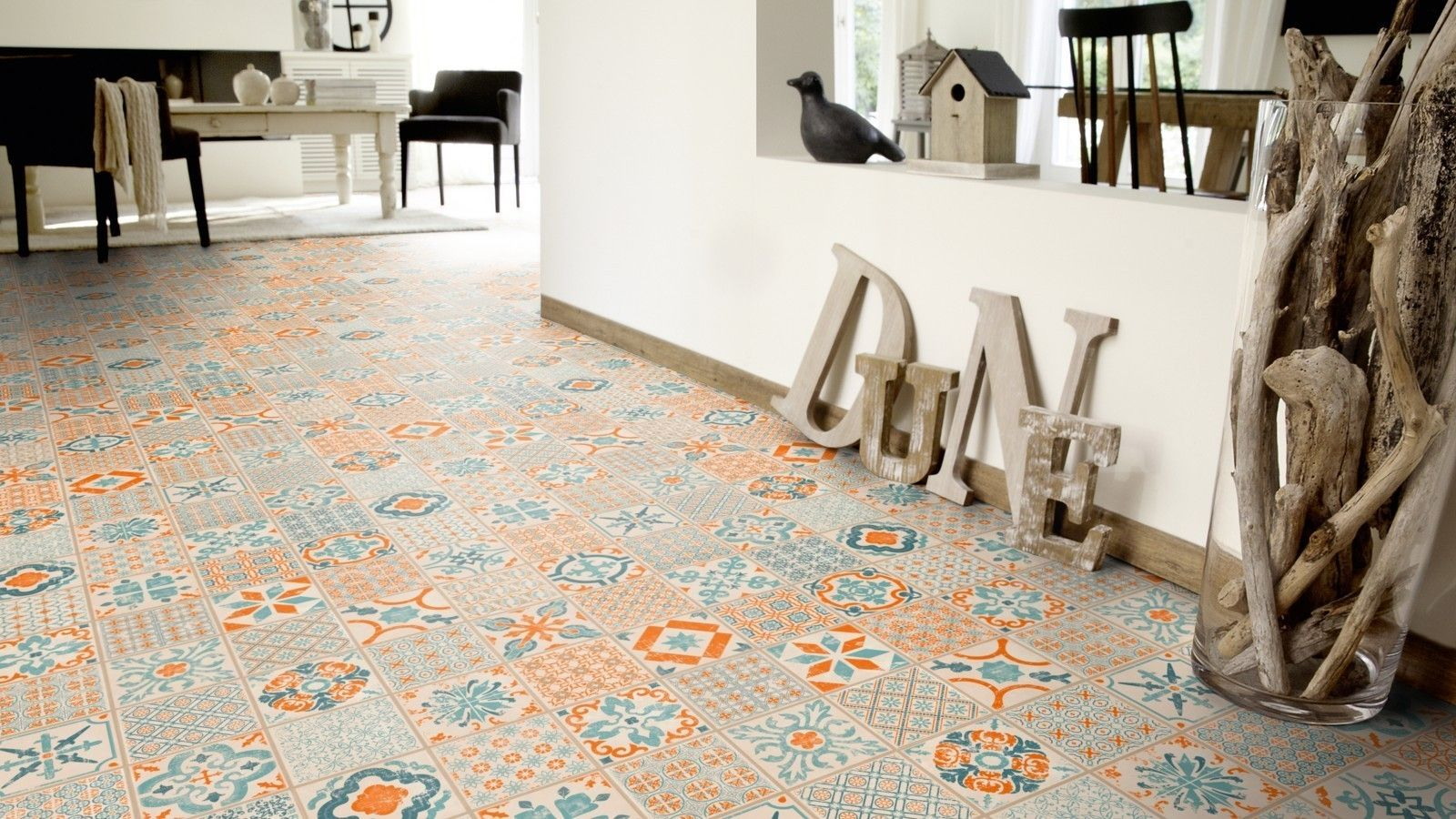 Retro Vinyl Tegels : Tarkett starfloor click in retro orange blue the tarkett