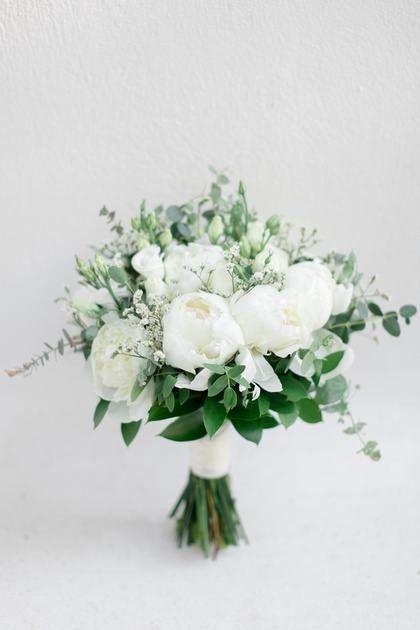 Organic wedding organic wedding bouquet bridal bouquet white peonies and greebouquet