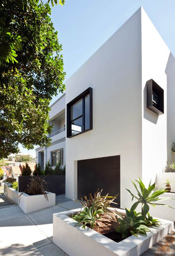 Hannah tribe of tribe studio white exterior houses - Houses with black windows ...
