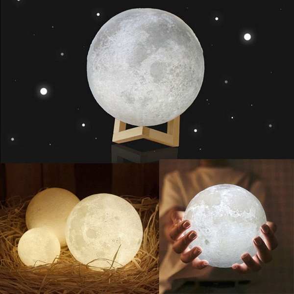 Rechargeable 3d Print Moon Lamp 2 Color Change Touch Switch Bedroom Bookcase Night Light Home Decor Chr Night Light Lamp Home Decor Christmas Gifts Night Light