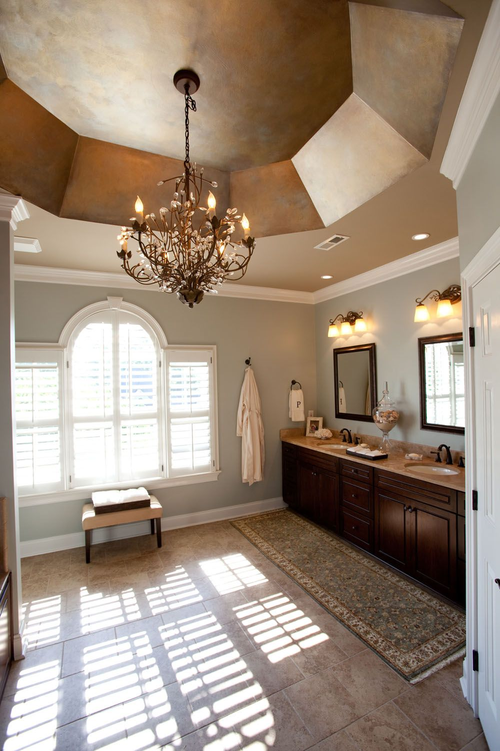 Traditional master bathroom, faux finish vaulted ceiling, crystal ...