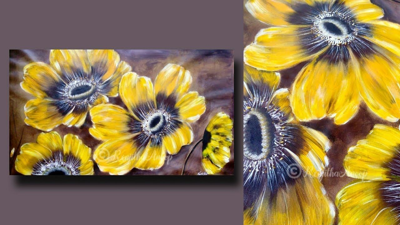 Step By Step Abstract Flower Painting For Beginners On Large Canvas Painting Techniques Day Abstract Flower Painting Large Canvas Painting Abstract Flowers
