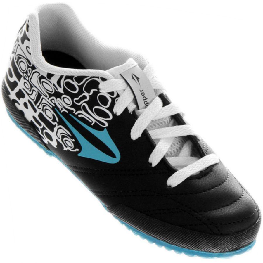 Chuteira Infantil Topper Comet III Futsal Indoor Masculina Preta   Branca    Azul 5343eeab07b24