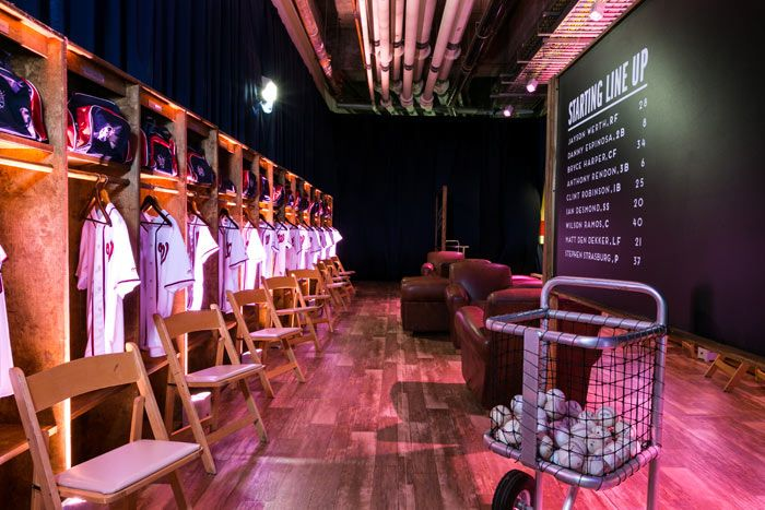 For a baseball-theme bar mitzvah at the Nationals Park in Washington, Columbia, Maryland-based Magnolia Bluebird Design & Events designed and built a grand entrance for the party since the real locker room was off-limits at the time. Each locker featured the guest's name along with a custom jersey and duffel bag.