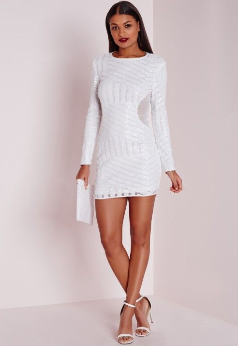 b02d1bbe3d6b Missguided Long Sleeve Sequin Bodycon Dress White in White