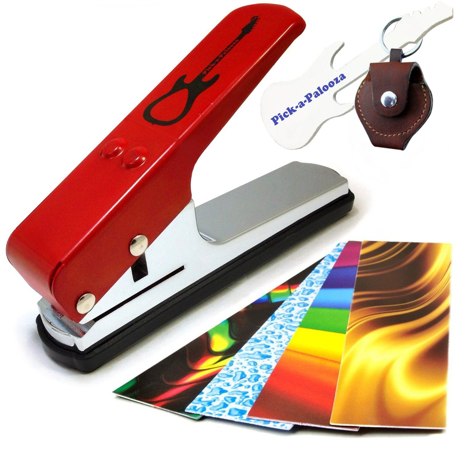Amazon.com: Pick-a-Palooza® DIY Guitar Pick Punch - The Premium Guitar Pick Maker and a Leather Key Chain Pick Holder - Now You Can Make Your Own Guitar Picks - RED: Musical Instruments