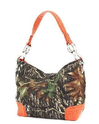 Mossy Oak Real Tree Camo Handbag With Hunter Orange Trim