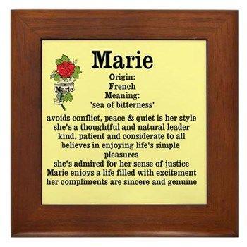 Marie Name Meaning-Bkgd Design Framed Tile | Names & Meanings