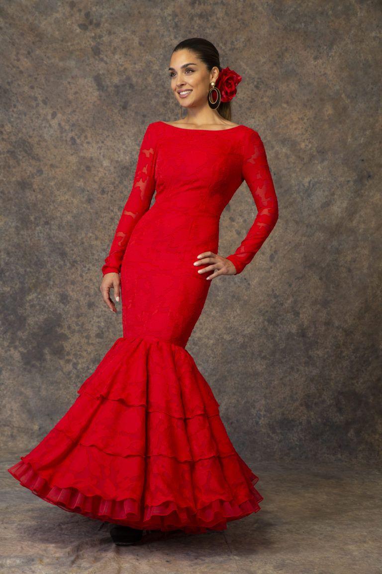 Traje de flamenca rojo de Aires de Feria 2019. Modelo Albero