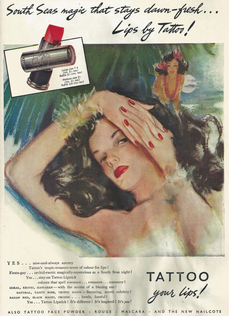 Tattoo lipstick advert from 1947 in 2019 1940s makeup
