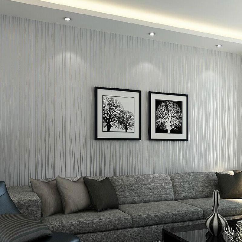 Solid Color Vertical Striped Wallpaper Light Grey Modernhomedecorlivingroom Tapete Wohnzimmer Wohn Design Gestreifte Tapete Bedroom wallpaper light grey