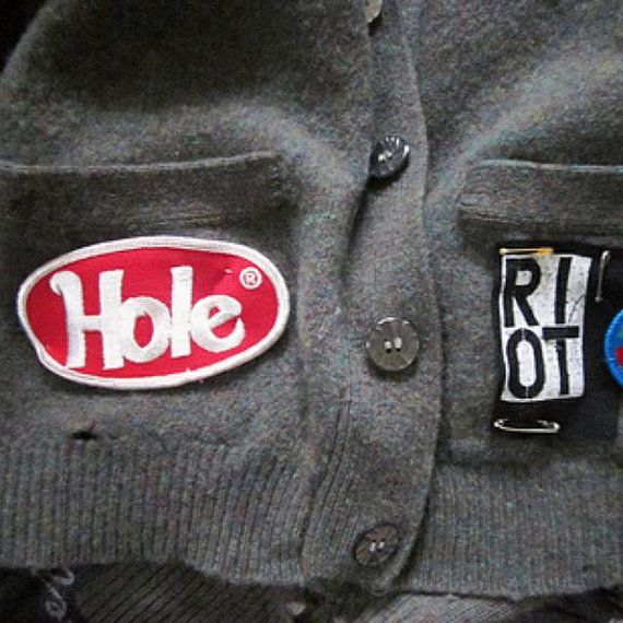 90s hole band logo embroidered patch iron on or sew on by obeykid
