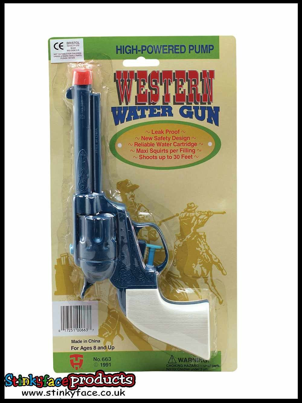 plastic cowboy gun water pistol wild west fancy dress joke squrt