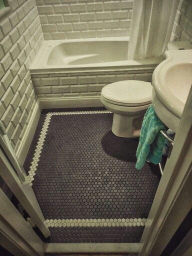 Bathroom Floor 1 Black Matte Hex Tile W Border Of White From Daltile