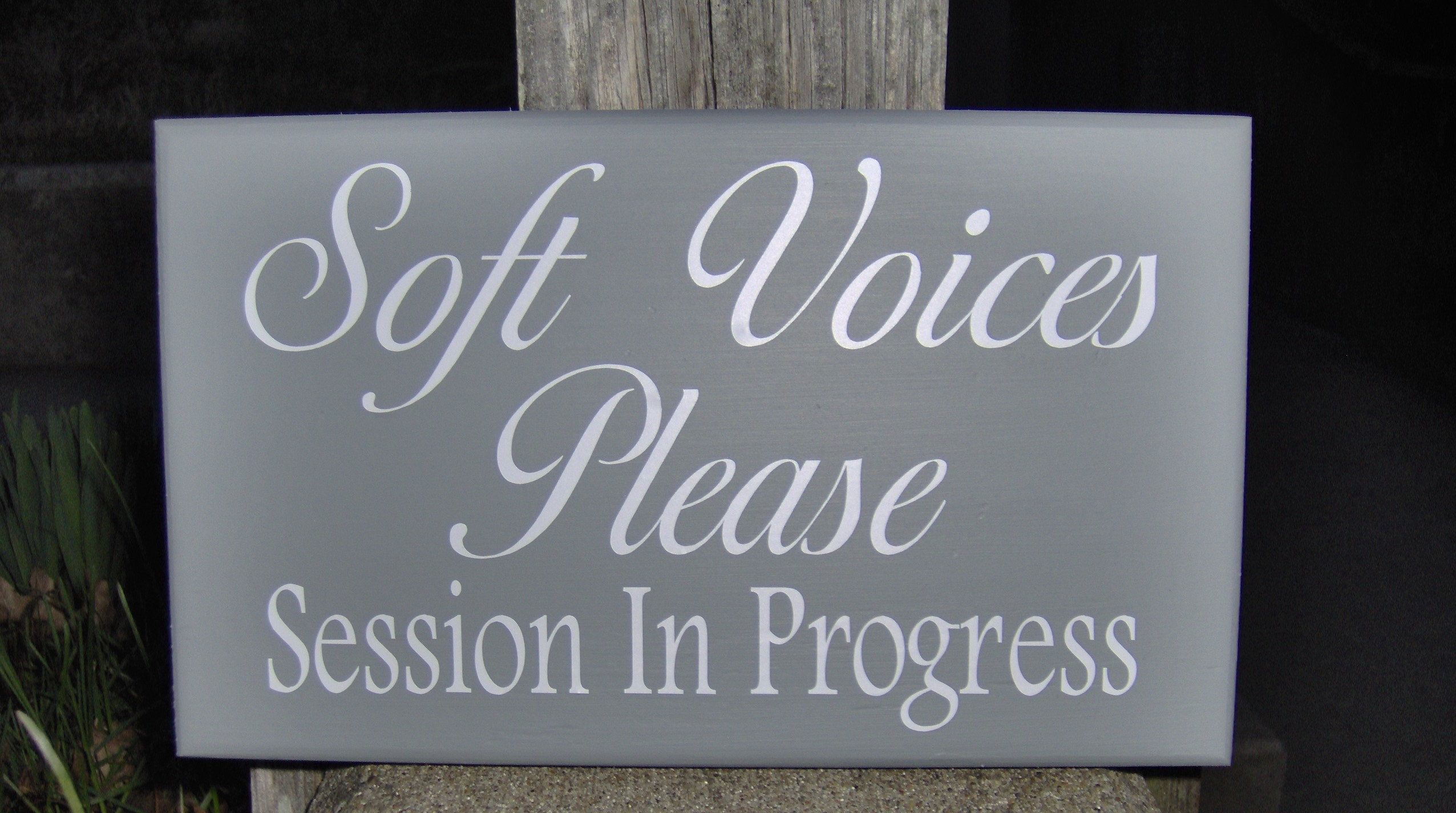 Soft Voices Please Session In Progress Wood Vinyl Sign Door Hanger