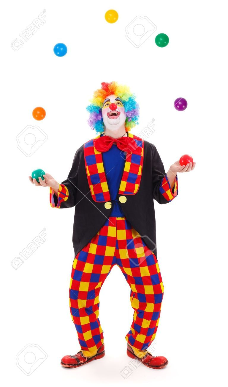 Clown Juggling Balls On White Background Stock Vector (Royalty Free)  716802802