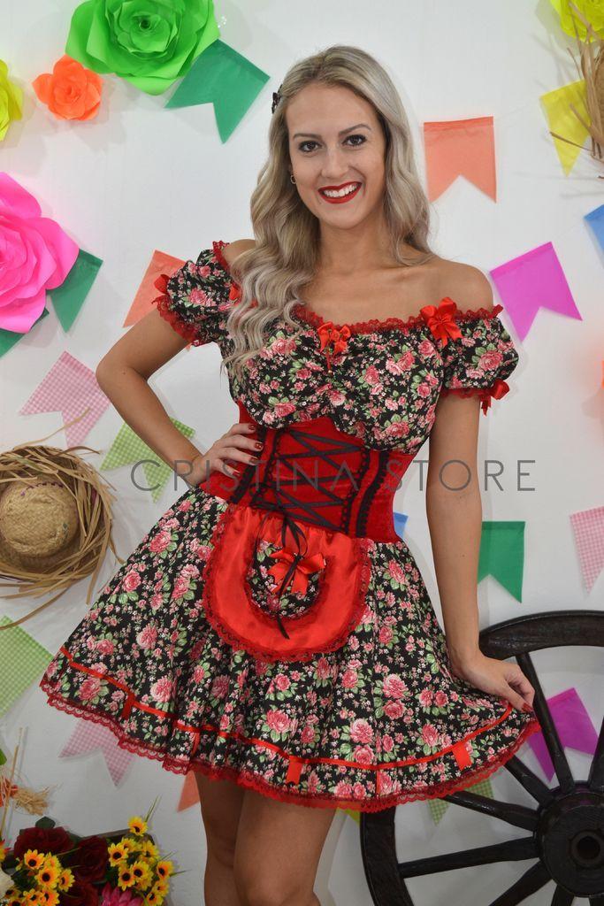a177c56840 Vestido Floral Vermelho - Caipira Chic - comprar online