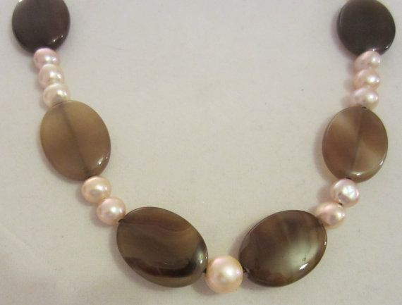 Peach Freshwater Pearl and Brown Agate by PearlnLeatherJewelry