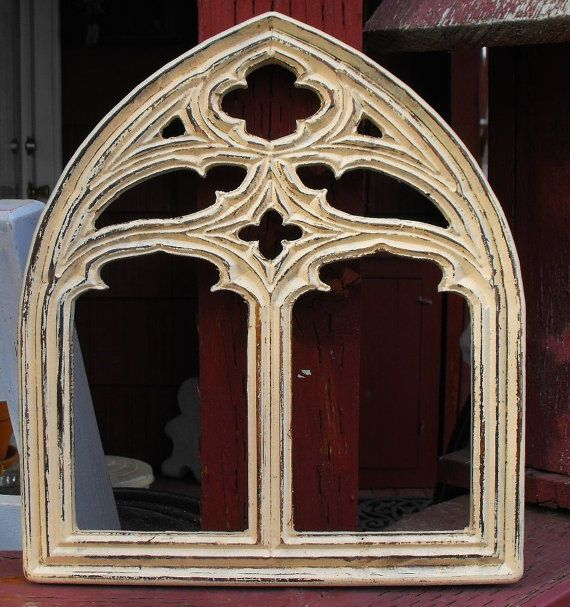 This Is A Cute Small Gothic Arch Window Frame Not Sure What Color You Would Call It An Ivory Arched Windows Arched Window Mirror Window Mirror Decor