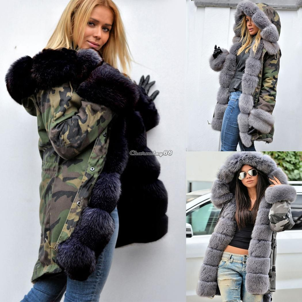 83055f6ac564 Uk Women's Winter Faux Fur Coat Military Jacket Thick Warm Parka With Fur  Lining