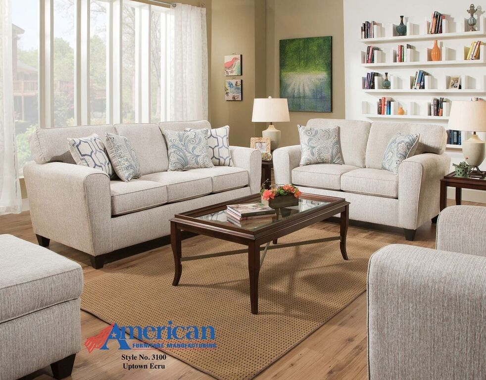 Exceptionnel Uptown Ecru Cream Sofa + Loveseat