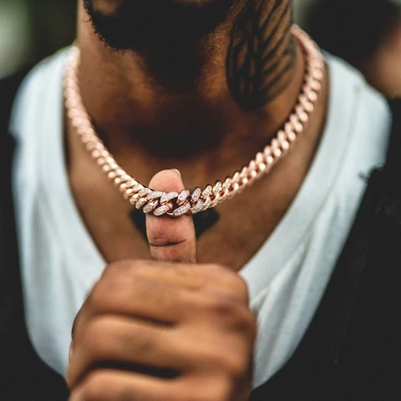 Diamond Cuban Link Choker 10mm In Rose Gold Gold Cuban Link Chain Cuban Link Necklace Cuban Link Chain