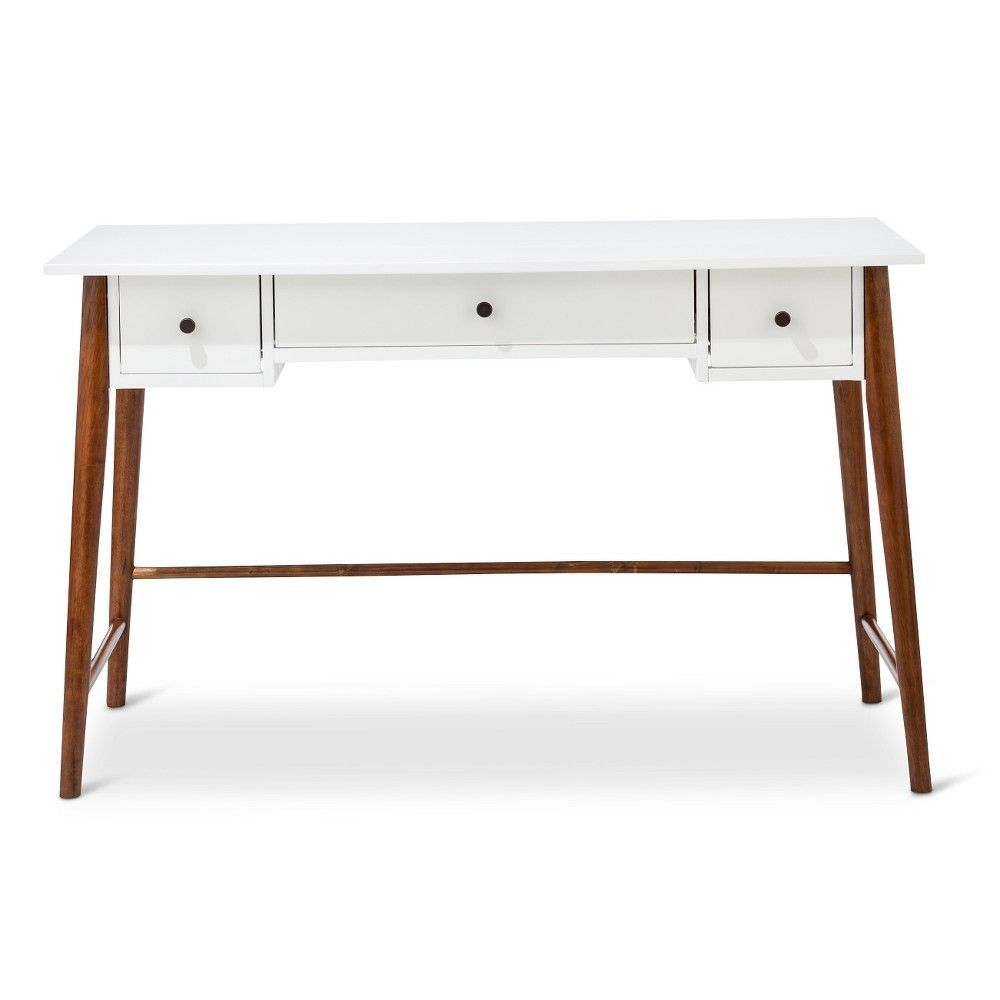 Mid Century Modern Two-Tone Writing Desk -White/Brown, White/Brown