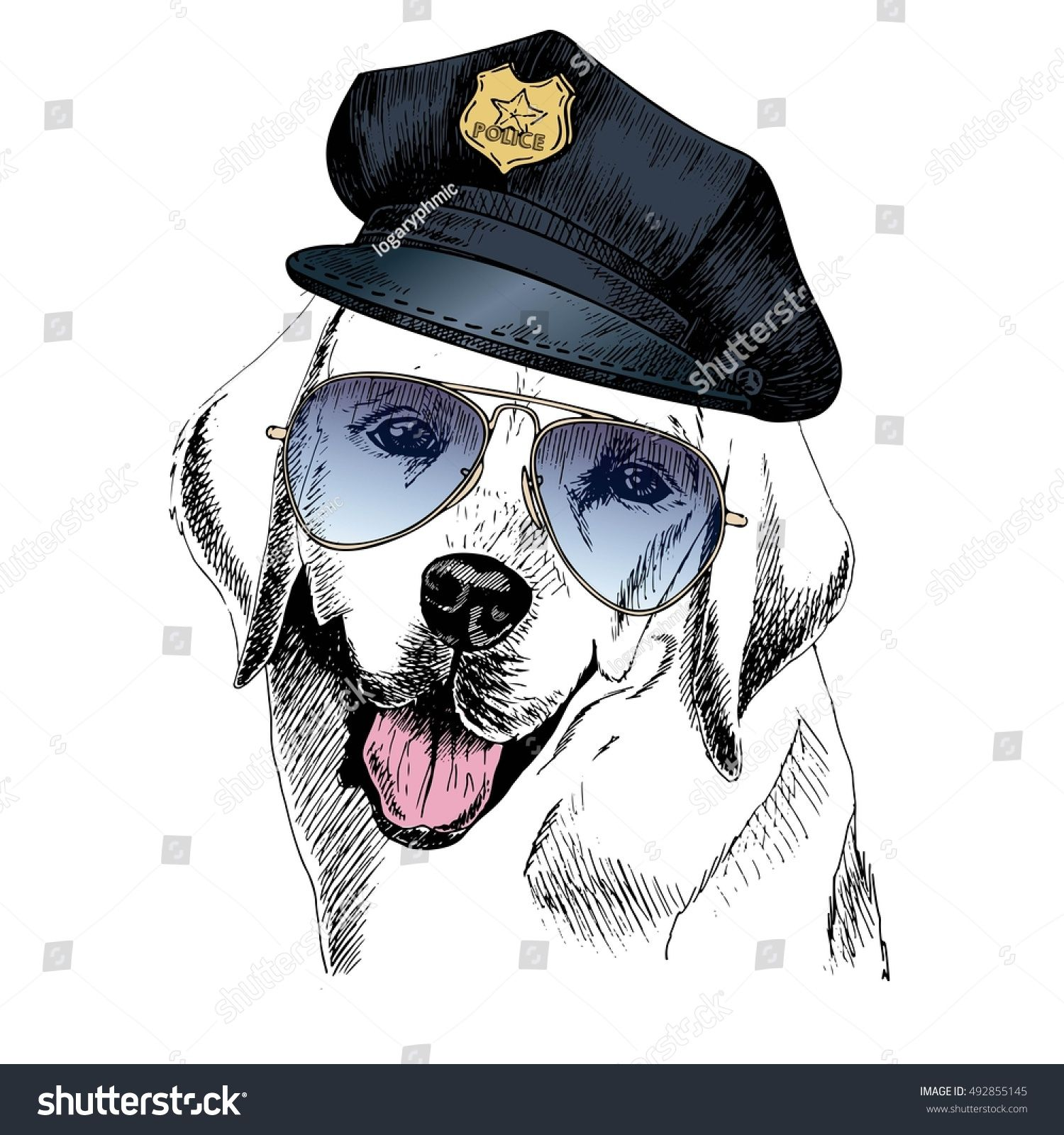Vector Close Up Portrait Of Police Dog Labrador Retriever Wearing The Peak Cap And Sunglasses Hand Drawn Domestic Dog Paintings Dog Illustration Dog Drawing