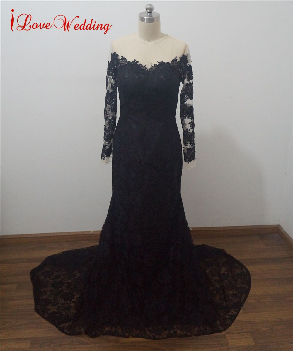 Ilovewedding new arrive sexy black lace evening dresses mermaid