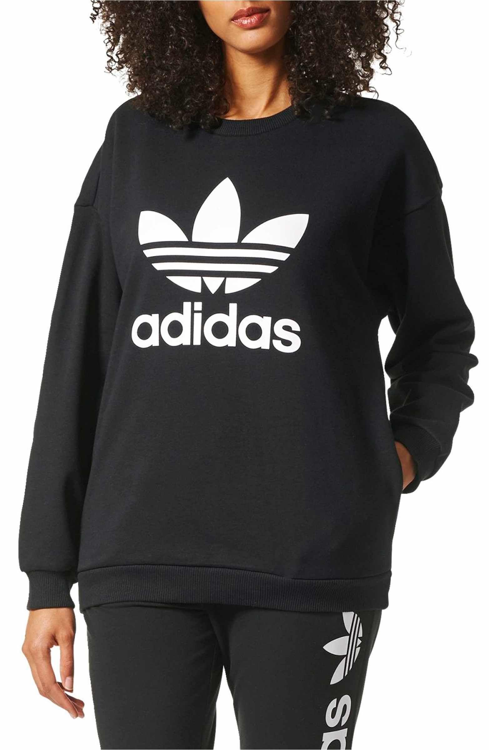 Adidas Originals Trefoil Crewneck Sweatshirt Nordstrom Women Hoodies Sweatshirts Casual Sweatshirt Crew Neck Sweatshirt [ 2400 x 1564 Pixel ]
