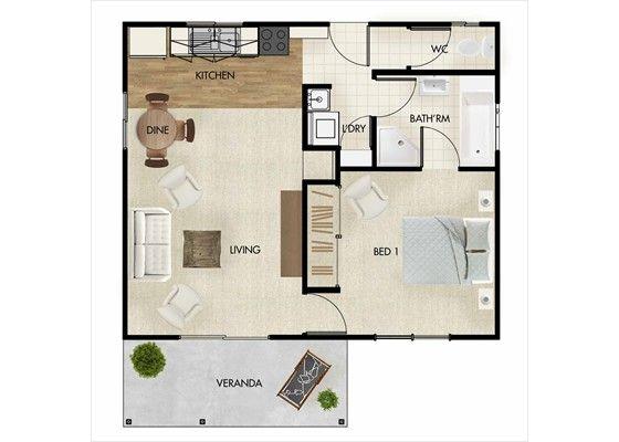 Granny flats in brisbane 50sqm 538sqft small apartments for Granny flat above garage plans