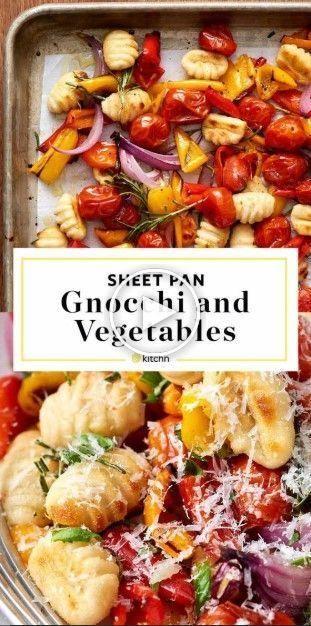 Receta de ñoquis con verduras y verduras crujientes.