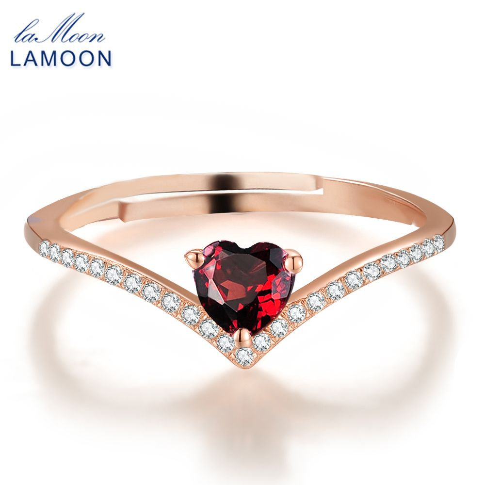 Heart rings for women romantic love natural red garnet jewelry