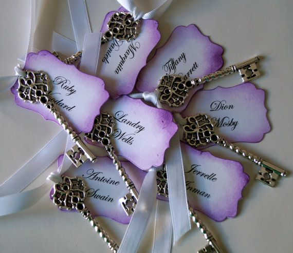 You Could Display These On Cork Boards Trays At Two Dollars Each They Are Right In Your Budget 15 X Purple Personalized Vintage Wedding Key Escort