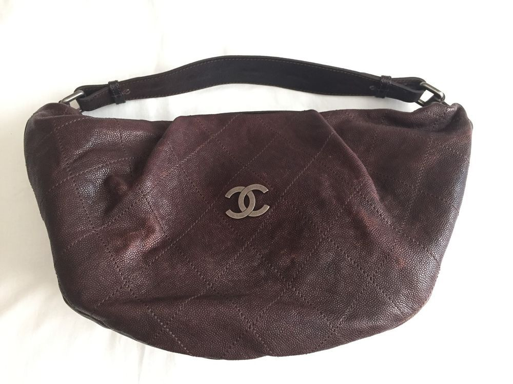 6b4192990b05d2 CHANEL Outdoor Ligne HOBO Bag Caviar Leather Handbag Purse Quilted Brown