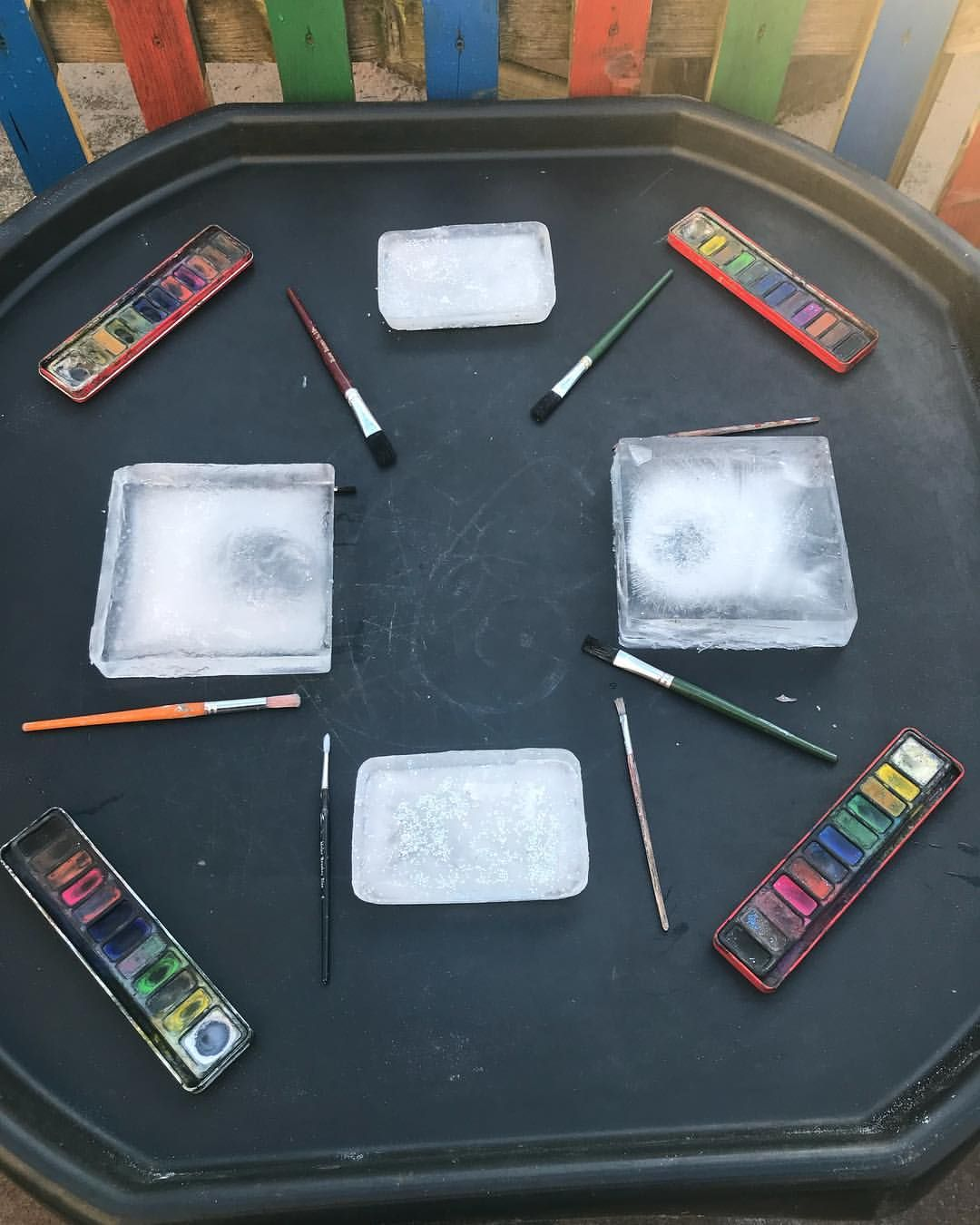 "Foundation Team - Ella & Nicky on Instagram: ""Today's tuff tray - ice painting ️� #tufftrayideas #eyfsideas #eyfsteacher #eyfs #eyfsclassroom"""