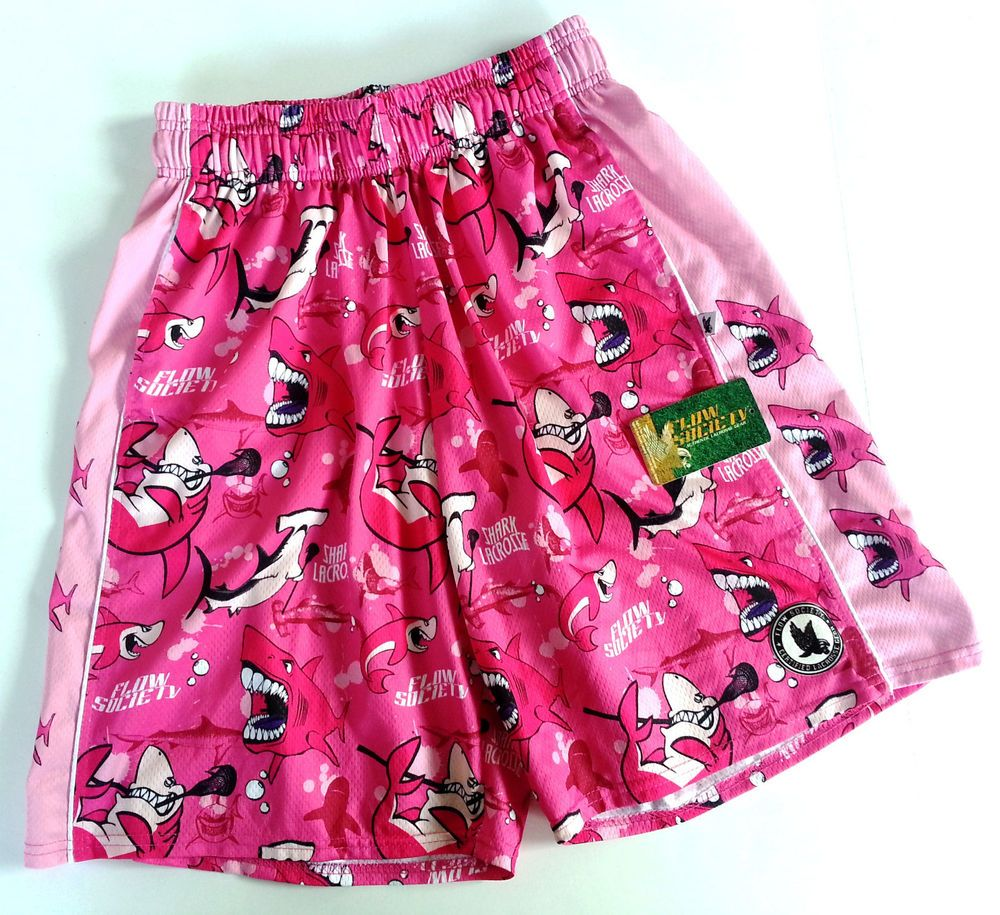 Brand New Flow Society Lacrosse Shorts Pink Sharks Pockets Men S Women S S Nwt Pink Shark Lacrosse Pink
