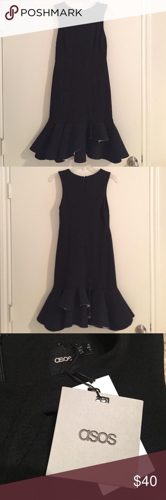 Asos Black Ruffle Bottom Knee Length Dress Simple Black Dress Knee Length Dress Black Ruffle [ 1740 x 580 Pixel ]