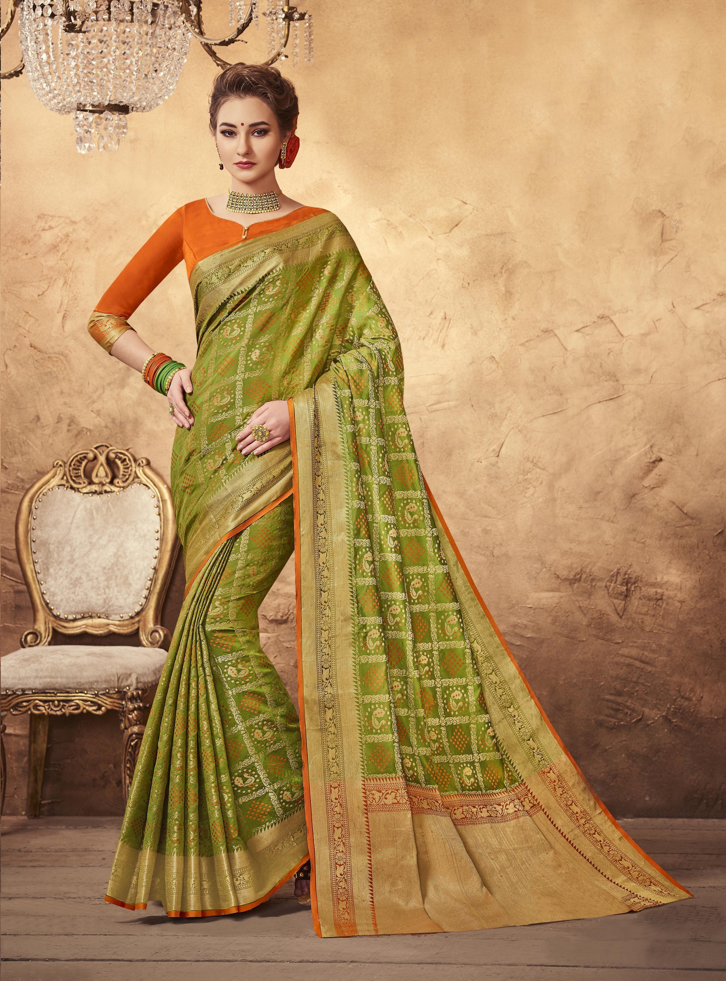 b5ea9ecf3472e0 Buy online Green colour Designer Traditional Patola Silk Saree at joshindia  saree