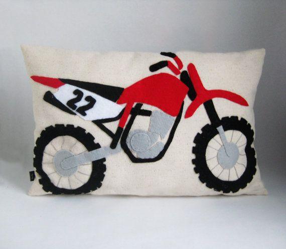 Dirt Bike Pillow Applique Accent Cushion Dirt by kmariemarsh | I ...
